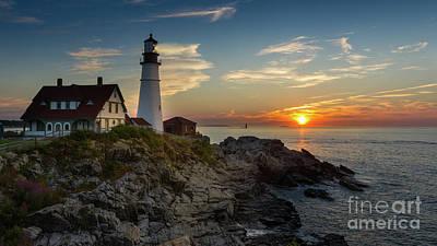 New England Lighthouse Digital Art - Sun Rising At Portland Head Light by Jerry Fornarotto