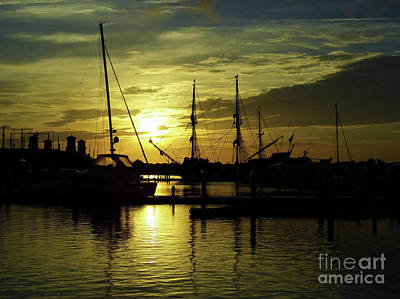 Blue Pirate Ships Landscape Photograph - Sun Rising In St Augustine by D Hackett