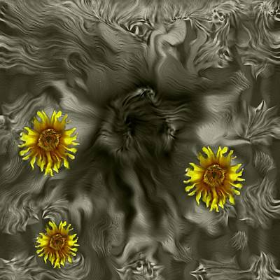 Sunflowers Mixed Media - Sun Roses In The Deep Dark Forest by Pepita Selles