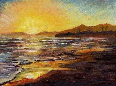 Painting - sun set in Santa Barbra by Ann Heideman