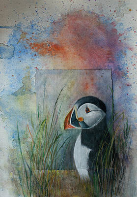 Painting - Sun Set Puffin by Lynn Hughes