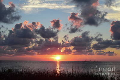 Photograph - Sun Set Sea Clouds And Reflection by Expressionistart studio Priscilla Batzell
