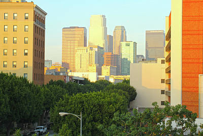 Sun Sets On Downtown Los Angeles Buildings #1 Art Print
