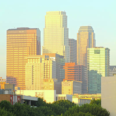 Photograph - Sun Sets On Downtown Los Angeles Buildings #2 by Ken Wood