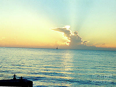 Photograph - Sun Setting At Key West Florida by Merton Allen