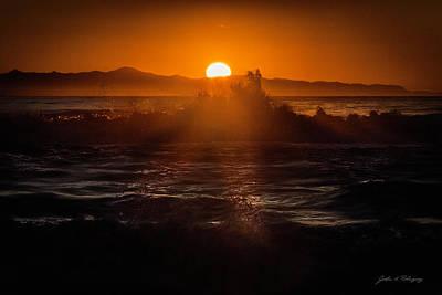 Ventura California Photograph - Sun Setting Behind Santa Cruz Island by John A Rodriguez