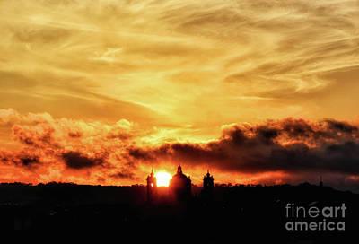 Sun Setting Down Behind Church Art Print by Stephan Grixti