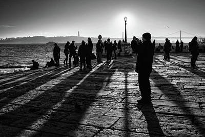 Photograph - Sun Setting In Columns Dock, Lisbon by Carlos Caetano