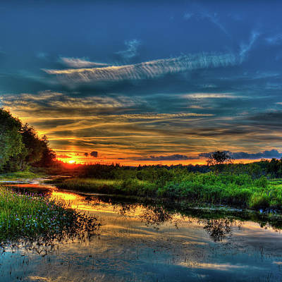 Landscapes Photograph - Sun Setting In The Adirondacks by David Patterson