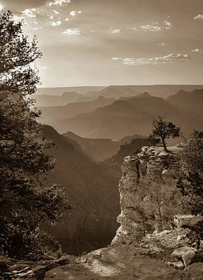 Photograph - Sun Setting On Grand Canyon Arizona - Sepia by Gregory Ballos