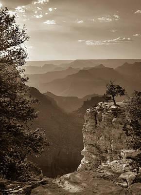 Photograph - Sun Setting On Grand Canyon Arizona - Sepia by Gregory Ballos