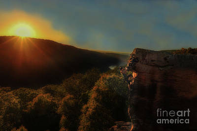 Photograph - Sun Setting On Rock Climber by Dan Friend