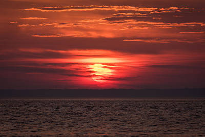 Photograph - Sun Setting On The Bay Seaside Park Nj by Terry DeLuco