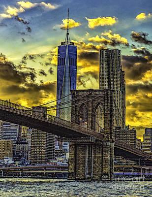 Photograph - Sun Setting On The Brooklyn Bridge by Nick Zelinsky