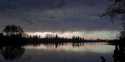 Sun Setting On The Skagit River Art Print by David Patterson