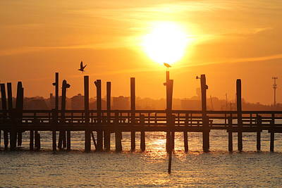 Photograph - Sun Setting Over Oceanic Fishing Pier by Robert Banach