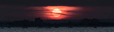 Photograph - Sun Setting Over Poole Harbour by Steven Poulton