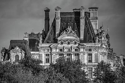 Photograph - Sun Setting Over The Louvre - Monochrome  by Hany J
