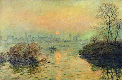 Sun Setting Over The Seine At Lavacourt. Winter Effect 1880 Art Print