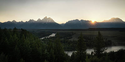 Reptiles Royalty-Free and Rights-Managed Images - Sun Setting over the Teton Range by James Udall