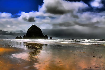 Lanscape Photograph - Sun Shining On Haystack Rock by David Patterson
