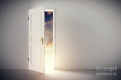 Nobody Photograph - Sun Shining Through Half Open Classic White Door. by Michal Bednarek