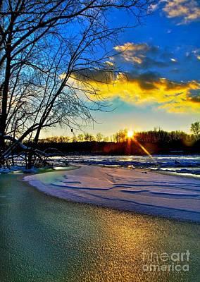 Sun Snow Ice Print by Robert Pearson