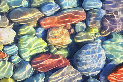Photograph - Sun Streaked River Rocks by Barbara McMahon