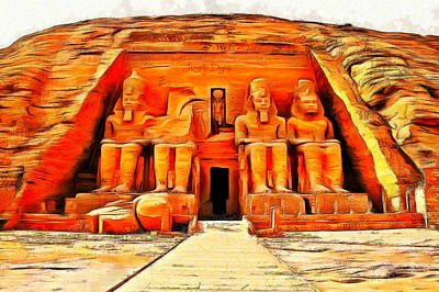 Pharaoh Painting - Sun Temple Of Abu Simbel - Da by Leonardo Digenio