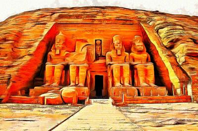 Ancient Egyptian Painting - Sun Temple Of Abu Simbel by Leonardo Digenio