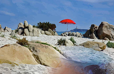 Mixed Media - Sun Umbrella On The Beach by Clive Littin