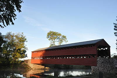 Covered Bridge Photograph - Sun Up At Sachs Covered Bridge by Bill Cannon