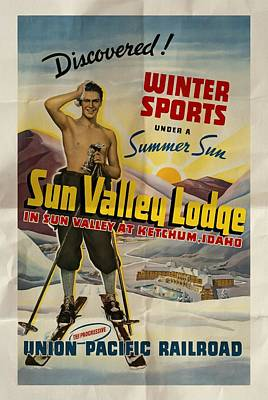 Mixed Media - Sun Valley Lodge - Folded by Vintage Advertising Posters