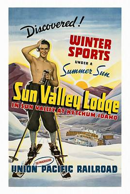 Mixed Media - Sun Valley Lodge - Restored by Vintage Advertising Posters