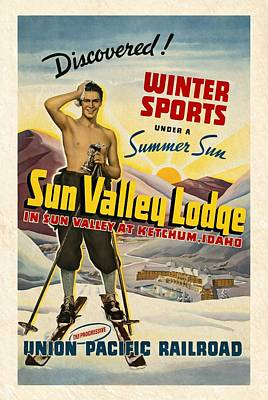 Mixed Media - Sun Valley Lodge - Vintagelized by Vintage Advertising Posters