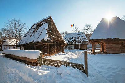 Photograph - Sun Warming Up A Traditional Romanian Homestead In Winter by Daniela Constantinescu