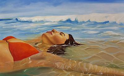 Beach Oil Painting - Sunbather by Crimson Shults
