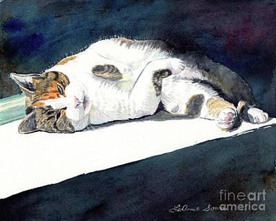 Painting - Sunbather, Calico Cat, Cat, Painting by LeAnne Sowa
