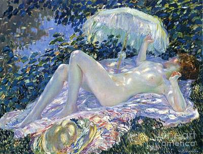 Ground Painting - Sunbathing by Frederick Carl Frieseke