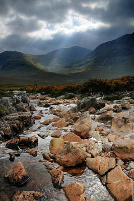 Photograph - Sunbeams, Glencoe, Scotland by David Stanley