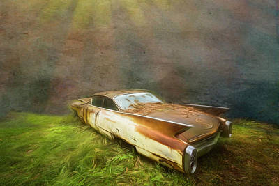 Photograph - Sunbeams On A Classic Cadillac by Debra and Dave Vanderlaan