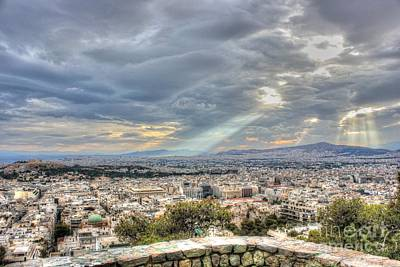 Photograph - Sunbeams Over The City In Hdr by Vicki Spindler