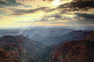 Photograph - Sunbeams Shine Into The Grand Canyon by Roupen  Baker