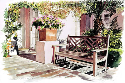 Painting -  Sunbench Hotel Bel-air by David Lloyd Glover