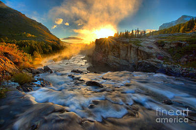 Photograph - Sunburst Over Swiftcurrent Falls by Adam Jewell