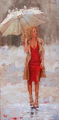Umbrella Painting - Sunbrella by Laura Lee Zanghetti