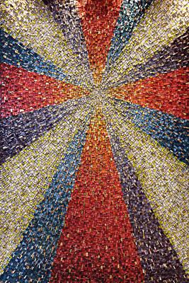 Photograph - Sunburst Cross In Colorful Mosaic Tile Backdrop In Roman Catholi by Reimar Gaertner