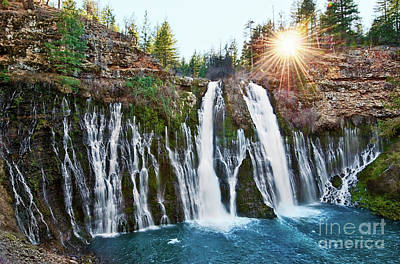 Niagra Falls Photograph - Sunburst Falls - Burney Falls Is One Of The Most Beautiful Waterfalls In California by Jamie Pham