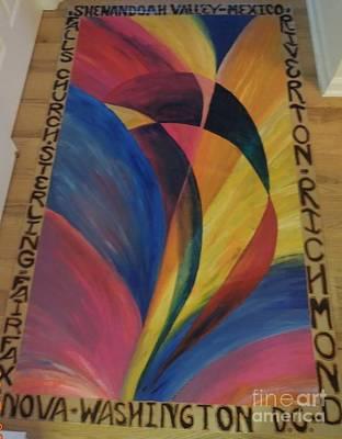 Painting - Sunburst Floorcloth by Judith Espinoza