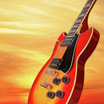 Photograph - Sunburst Guitar Sunset Square by Gill Billington